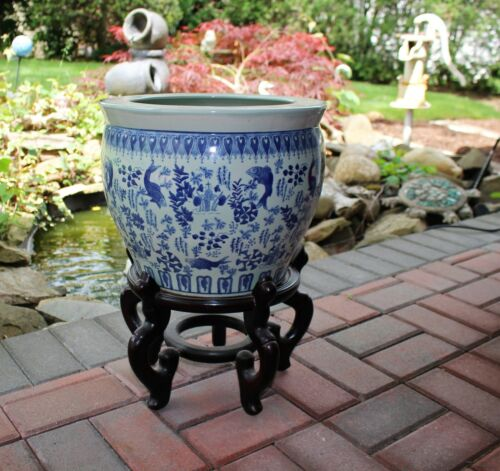Floor Vase Floral Blue And White Porcelain Fish Bowl Planter Pot with Stand