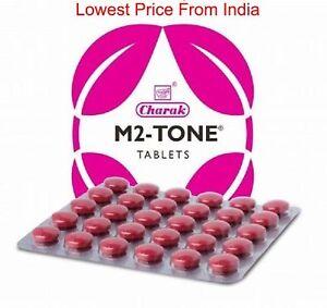M2 Tone Tablet For a balanced menstrual period By Charak 60 tab. Ayurvedic .