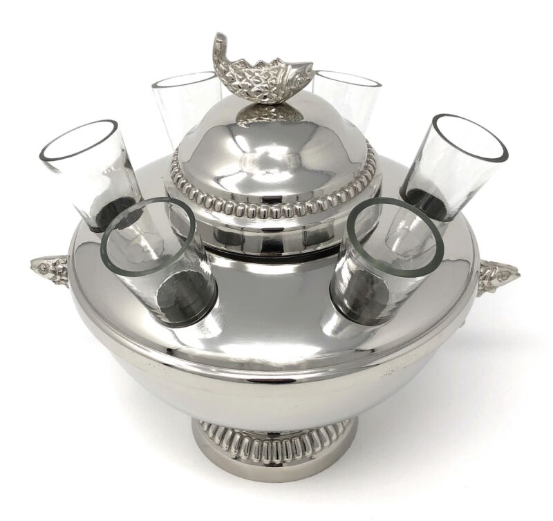 Silver Plated Caviar and Vodka Server + glasses