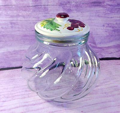 Pumpkin Apothecary Jar Italy SVE Green Swirled Glass Hand Painted Ceramic Lid