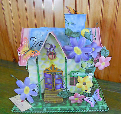 Home Interiors Metal TIN COTTAGE HOUSE CANDLE HOLDER 2 Votive Flowers Butterfly
