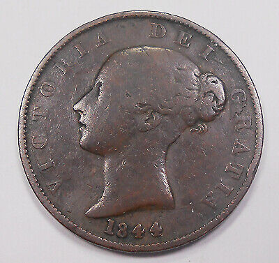 Great Britain 1844 1/2 Penny VG+ Nice SCARCE Date Early Victoria UK Copper Coin