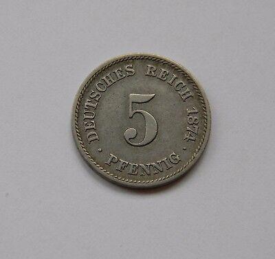 KAISERREICH: 5 Pfennig 1874 F, J. 3, vorzüglich !!!