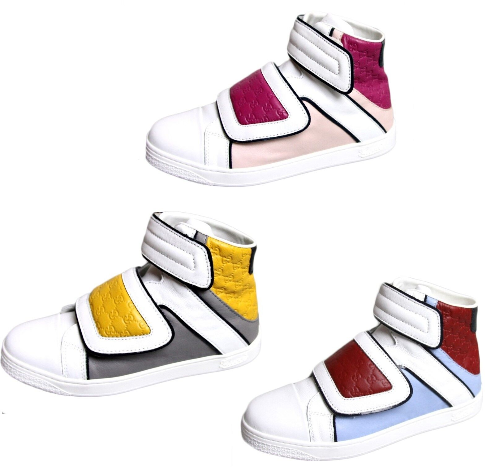 New Authentic Gucci Kids Leather Coda Pop High-top Sneaker 301353 301354