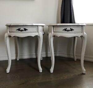 Set of two French provincial tables,solid wood
