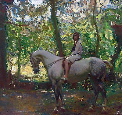 Sir Alfred Munnings, Girl on Horseback, Horse,  antique wall decor,  16