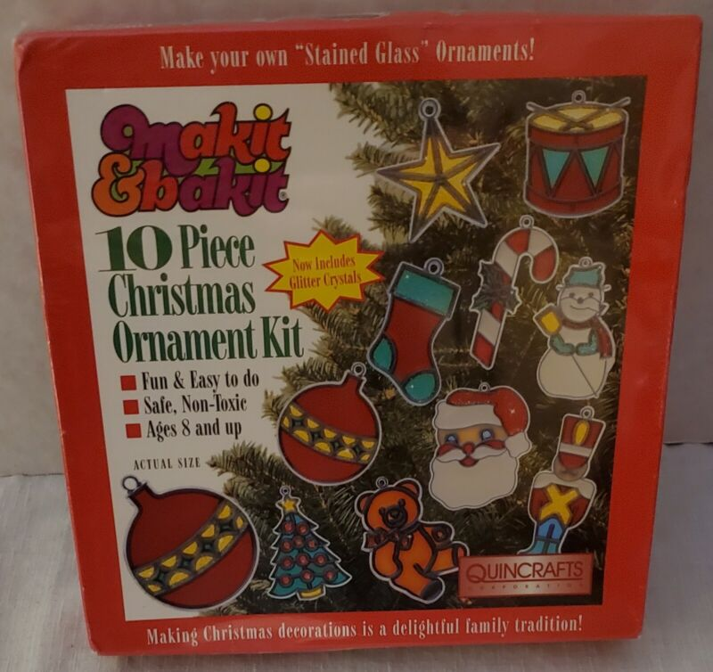Vintage Makit & Bakit 10 Piece Stained Glass Christmas Ornament Kit New Nos