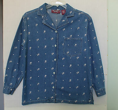 Denim & Co Size S Button Down Denim Shirt w/Floral Eyelet Embroidery, long slv