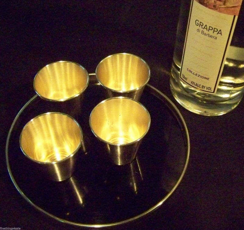 NICHEL SILVER SHOT CUPS - SMALL JULEP / BEVERAGE CUP STYLE CUPs -FineThings4sale