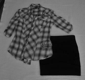 Teen / Very Petite Woman USA Designer Black Skirt  & GUESS Shirt