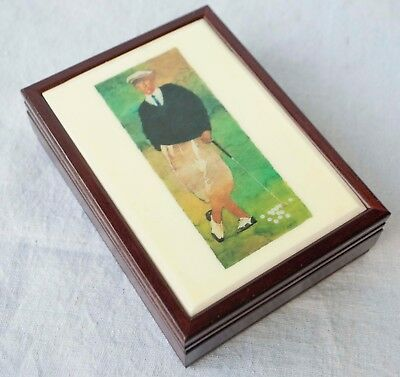 Vintage Wood Jewelry Valet Trinket Box w Ceramic Tile Laminate Golf Ceramic Tile Wood Box