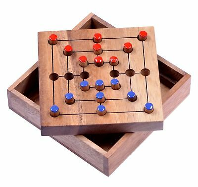 Mühle Strategy Strategiespiel Gesellschaftsspiel Denkspiel Brettspiel Holz Gr. S