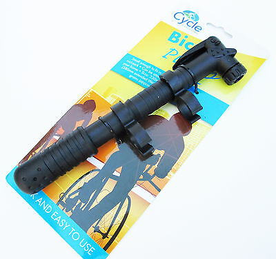 Portable Bicycle Bike Tire Hand Air Pump Inflator Light Weight Attach to Frame ()
