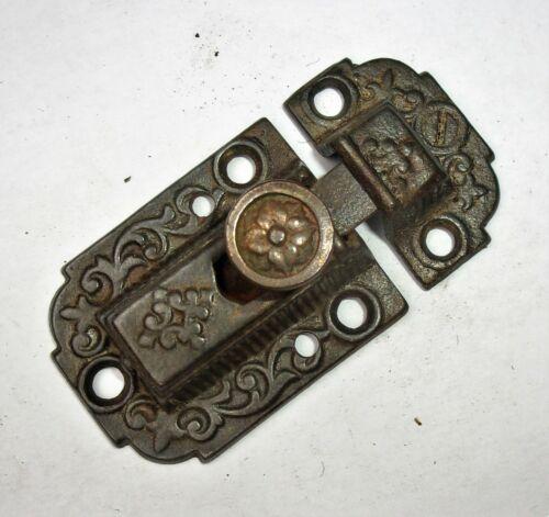 Antique Vintage Ornate Eastlake Victorian Cabinet Door Bolt Lock Latch w/ Keeper
