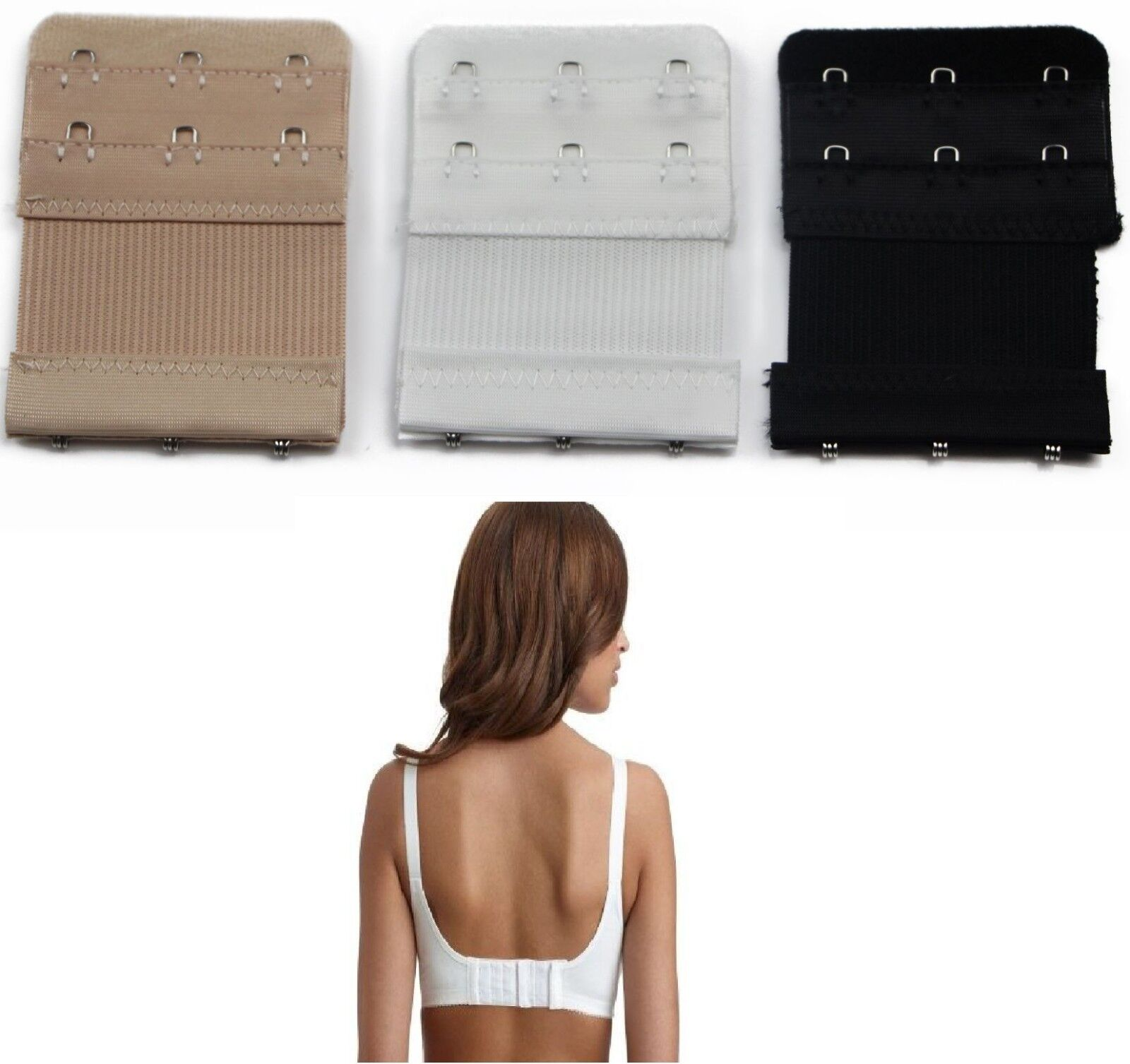 82ae967785 Details about Bra Extender Extension 3 Hook PACK OF 3 Clip On Strap Elastic  Black White Nude