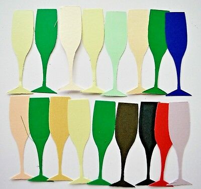 17 Die Cut Champagne Flutes 100mm Tall x 25mm Wide Assorted Colour Card NEW