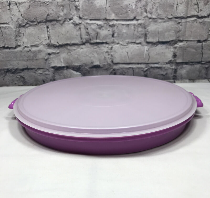 TUPPERWARE Fuchsia Party Susan Divided Relish Veggie Serving Tray 405 & Lid 224