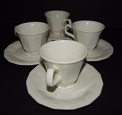4 Homer Laughlin Classic White Colonial Dinner Cups and Saucers in Dover CW100