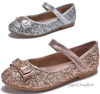 New Girls Rose Gold Silver Flats Metallic Glitter Dress Shoes Wedding Kids Party (Girls Gold Party Shoes)