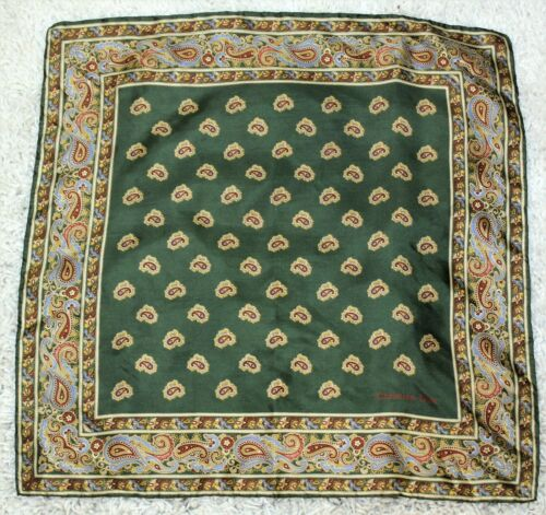 """Vintage CHRISTIAN DIOR Green and Red Paisley Print Silk Scarf 19"""" x 19"""""""