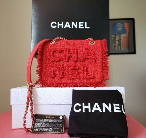 5000 New Chanel red tweed flap 2020 aged gold hw Chain Crossbody Bag