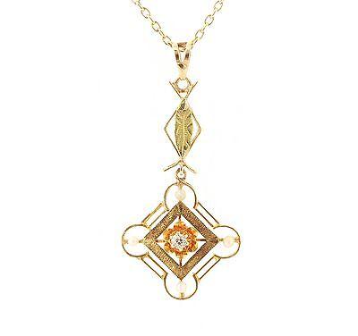 Antique Art Nouveau 14k Gold Diamond Seed Pearl Lavalier Necklace 1251765