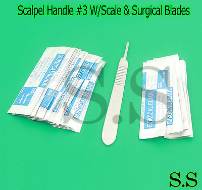 100 Scalpel Blades 15 Scalpel Handle 3 Wscale Surgical Dental Ent Instrument