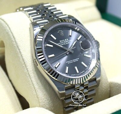 Rolex Datejust 126334 41mm Jubilee Rhodium Dial 18K White Gold Bezel Watch NEW