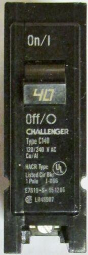CUTLER HAMMER CHALLENGER BR140 Single Pole 40 Amp Type BR C140 Circuit Breaker