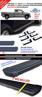 """6"""" Running Boards  Black 99-06 Silverado Sierra 1500/01-06 2500 HD  Extended Cab"""