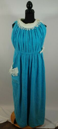 Vintage Cabana Wear Miami Original Terry Cloth Blue Swimsuit Cover Cinch Waist