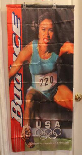 Bud Ice 1996 USA Olympic Track Banner Displaying Black Athlete Budweiser Beer