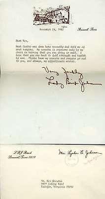 LADY BIRD JOHNSON PSA DNA Hand Signed 1982 Letter Authentic Autograph