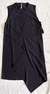 Silky Navy Blue Sleeveless Dress With Handkerchief Hem Sz S EUC (Dress With Handkerchief Hem)