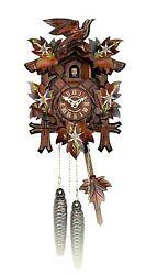 HUBERT HERR GERMAN HAND CARVED WALL CLOCK CUCKOO CLOCK - EDELWEISS WITH BIRD-NIB