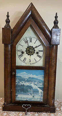 AS IS Antique Waterbury Steeple Mantle Clock 30 Hour Mount Carmel Sleeping Giant