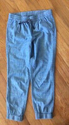 J. Crew Point Sur Linen Chambray Blue Jogger Pants Size 0