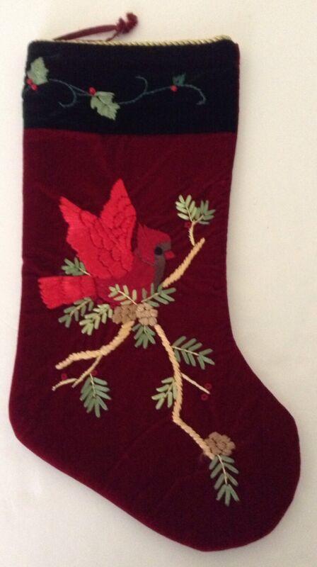 "Prima Creations Christmas Stocking 19.5"" Embroidery Cardinal Saks 5th Av Holiday"