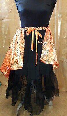 Halloween Unique Witches Skirt Size 12 Womens Orange and Black Cobweb Design