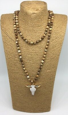 Fashion woman jewelry 8mm picture jasper bead w steer pendant Necklace