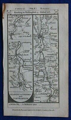 Original antique road map READING, OXFORD, BICESTER, TOWCESTER, Paterson, 1785
