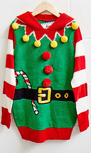 Ugly Christmas Sweater Hooded Elf Men's XL New
