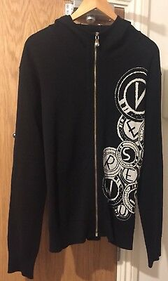 VERSUS VERSACE Knit Zip Hooded Sweatshirt Hoodie - Black -UK 42/IT 52/XL
