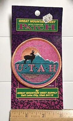 Mountain States Utah (NIP State of UTAH Mule Deer Buck Mountains Sunset UT Round Souvenir Patch)