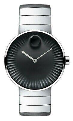 $795 Movado Edge Men's Black Dial Stainless Steel Quartz Bracelet Watch 3680006