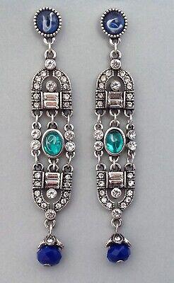 1920s Art Deco Jewelry: Earrings, Necklaces, Brooch, Bracelets Art Deco Earrings Long Rhinestone Drops Jazz Age Art Deco Jewelry  $20.00 AT vintagedancer.com