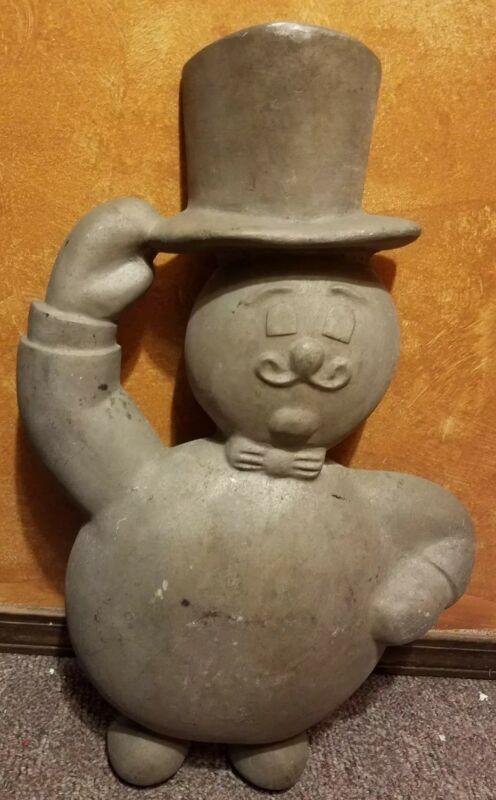 "VINTAGE CAST METAL TOP HAT MAN LARGE 25"" TALL WALL MOUNT LOGO"