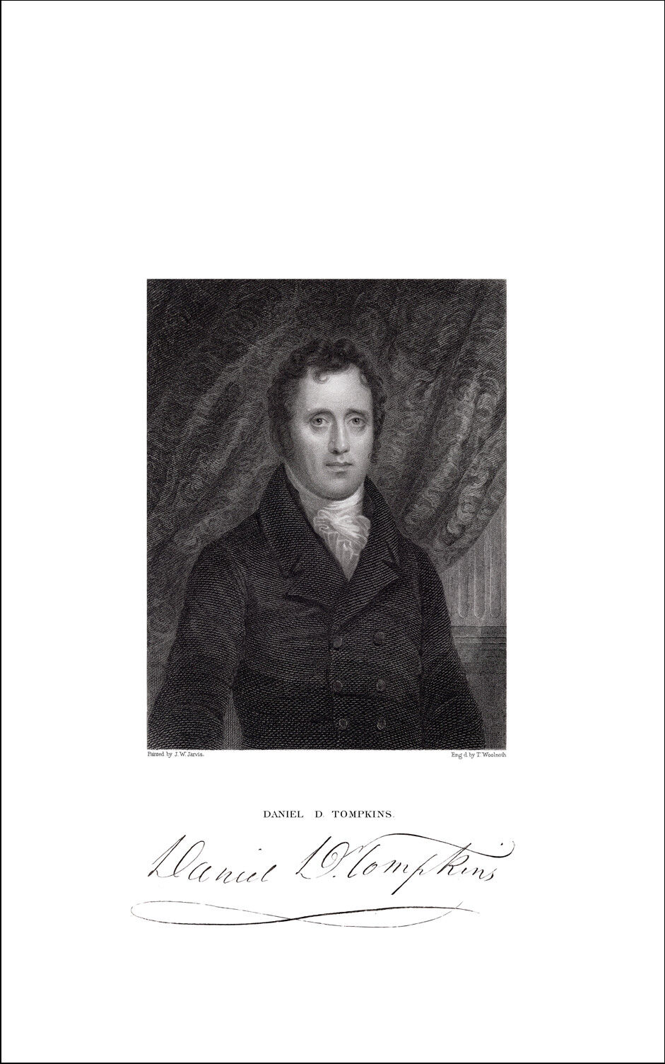 6th Vice President DANIEL D. TOMPKINS 1834 Engraving Jarvis Pinx Woolnoth Sc - $32.50