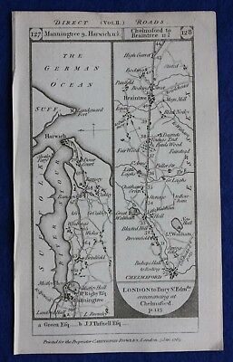 Original antique road map SUFFOLK, HARWICH, ESSEX, BRAINTREE, Paterson, 1785