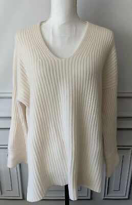 Le Kasha Womens Cashmere Sweater Size Small Ribbed Bell Sleeves Oversized Ivory